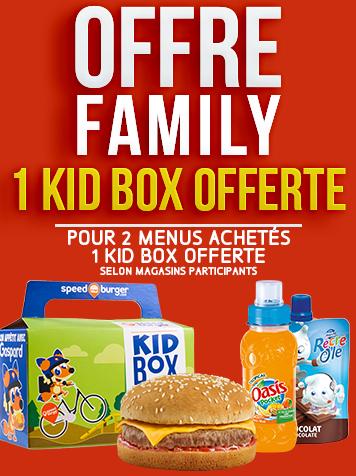 FAMILY 1 Kid Box offerte pour 2 menus classiques achetés