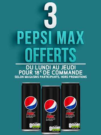 3 PEPSI MAX OFFERTS pour 18€