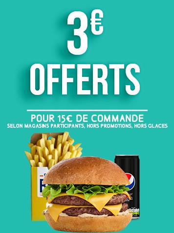 3€ de réduction pour 15€ d'achat !