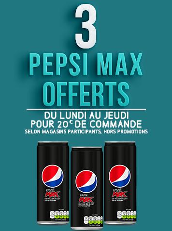 3 PEPSI MAX OFFERTS pour 20€