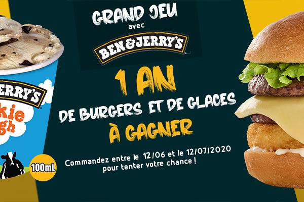 1 an de Burgers et de Glaces à gagner avec Ben & Jerry's